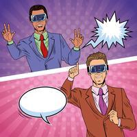 Los hombres de negocios de realidad virtual de dibujos animados de arte pop vector