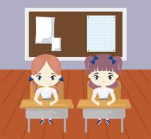 little student girls in the classroom scene