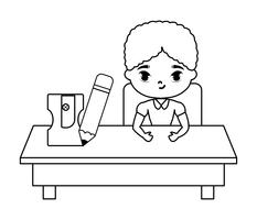 student boy sitting in school desk with supplies education