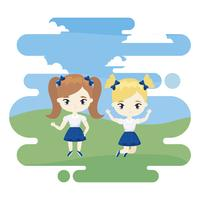 cute little student girls celebrating in landscape scene