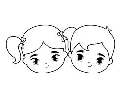 heads of cute little kids avatar character