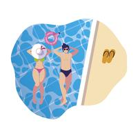 young couple with swimsuit floating in pool