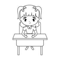 little student girl sitting in school desk