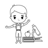 menino pequeno estudante com escola de suprimentos