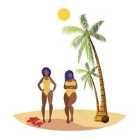 young afro girls couple on the beach summer scene