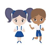 cute little students avatar character vector
