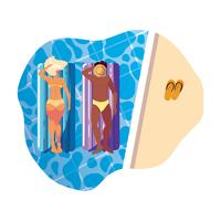 interracial couple with float mattress in water vector