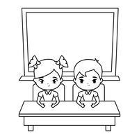 simpatici piccoli studenti nella scrivania con il consiglio scolastico