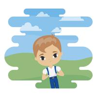 menino bonitinho estudante na cena da paisagem