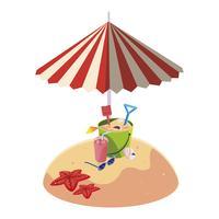 Playa de arena de verano con sombrilla y arena cubo de juguete