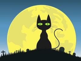 Halloween background with  silhouette black cat in graveyard