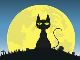 Halloween-Hintergrund mit schwarzer Katze des Schattenbildes im Friedhof