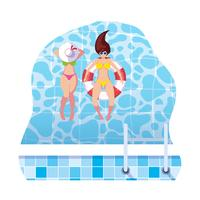 girls with swimsuit and lifeguard float in water