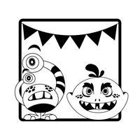 Marco monocromo con monstruos y guirnaldas colgando. vector