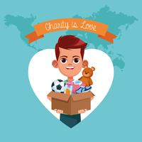 Kid donation charity cartoon