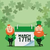 Happy Saint Patrick's day Background Design With Calendar and Leprechauns vector