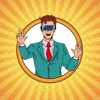 Businessman virtual reality pop art cartoon vector