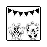 monochroom frame met monsters en slingers opknoping