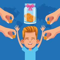 Kid donation charity cartoon vector