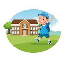 Volver a la escuela dibujos animados para niños