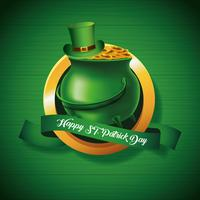 Happy Saint Patrick's Badge With Pot of Gold on Green Background