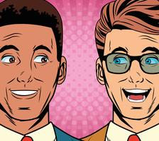 Arte pop sorprendido empresarios caras dibujos animados