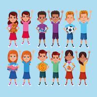 Kids donation and charity cartoon
