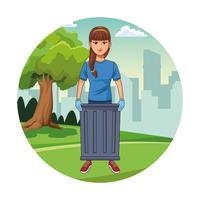 Park cleaning volunteer girl cartoon