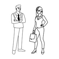 couple of engineers builders workers characters vector