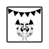 quadratischer Rahmen mit Monsterfliegen und Partygirlanden