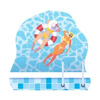 meisjes met zwempak en badmeester drijven in water