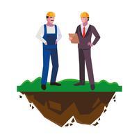 costruttore costruttore con ingegnere sul prato