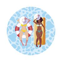 interracial girls with swimsuit and lifeguard float in water