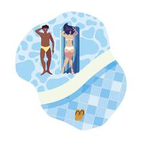 coppia interrazziale con materasso galleggiante in acqua