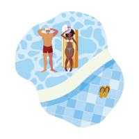 interracial couple with float mattress in water