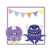 square frame with funny monsters and garlands hanging