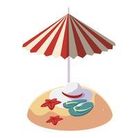 Playa de arena de verano con sombrilla y chanclas.