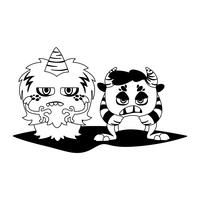 divertidos monstruos pareja comic personajes monocromo