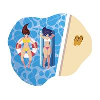 girls with swimsuit in lifeguard and mattress floats in water