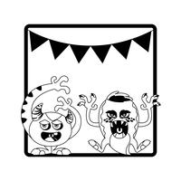 monochrome frame with monsters and garlands hanging