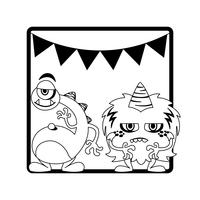 monochrome frame with monsters and garlands hanging vector