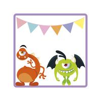 vierkant frame met grappige monsters en slingers opknoping