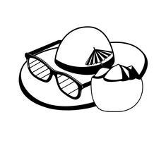 Coctel de coco fresco con sombrero de paja y gafas de sol