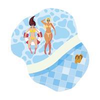 chicas con traje de baño y salvavidas flotan en la piscina