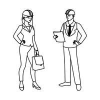 casal de engenheiros construtores trabalhadores personagens