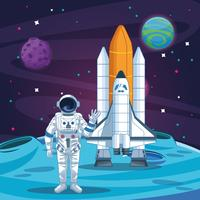 Astronaut in the galaxy cartoon