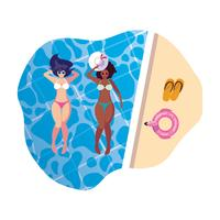 interracial girls couple with swimsuits floating in pool