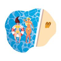 girls with swimsuit and lifeguard float in pool