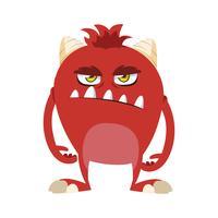 lustiges Monster mit Hörnern Comic-Figur vektor