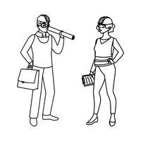 constructor de sexo femenino constructor trabajador con arquitecto jefe
